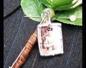 Lapel Pin Charm, Groom Boutonniere Charm, Memorial Photo Stick Pin, Wedding Keepsake, Bridal Bouquet Pin