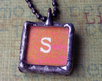 Soldered art charm initial letter S pendant two sided with quote