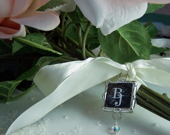 Picture Bouquet Charm or Monogram Charm, Wedding Memorial Charm, Bridal Photo Pendant