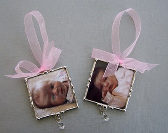 Personalized Photo Ornament Baby's First Christmas Soldered Glass