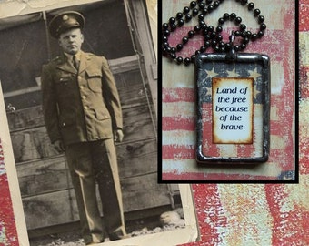 Custom photo charm Honor A Soldier Patriotic Pendant Soldered Glass
