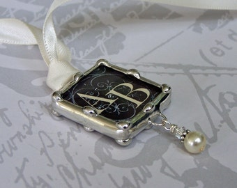 Wedding Bouquet Charm, Couple's Monogram, Bridal Keepsake, Two Sided, Personalized Pendant For Bouquet, Memorial Charm