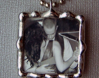 Photo Charm Necklace Personalized Pendant Soldered Glass Custom Made