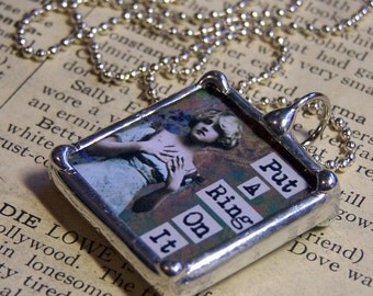 Soldered Glass Art Charm Collage Pendant