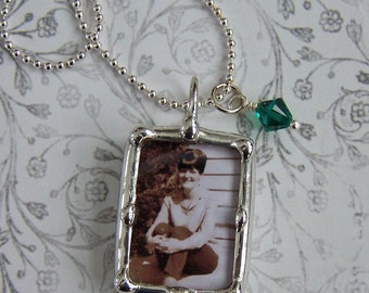 Photo Charm, Soldered Glass, Memorial Pendant, Remembrance Picture Charm, Personalized, Wedding Gift, Mother Of Bride Gift, Wedding Keepsake