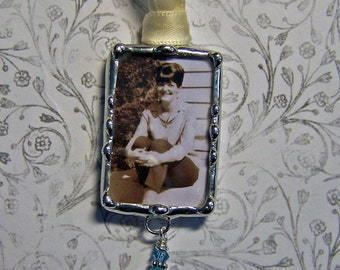 Something Blue Charm Wedding Bouquet Charm Memorial Photo Charm