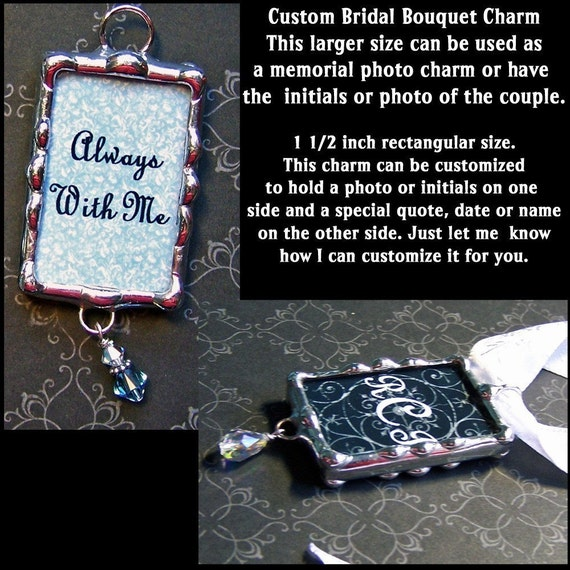 Wedding memorial charm photo custom soldered glass initials