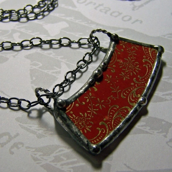 Soldered Broken Vintage China Pendant Red Upcycled Plate