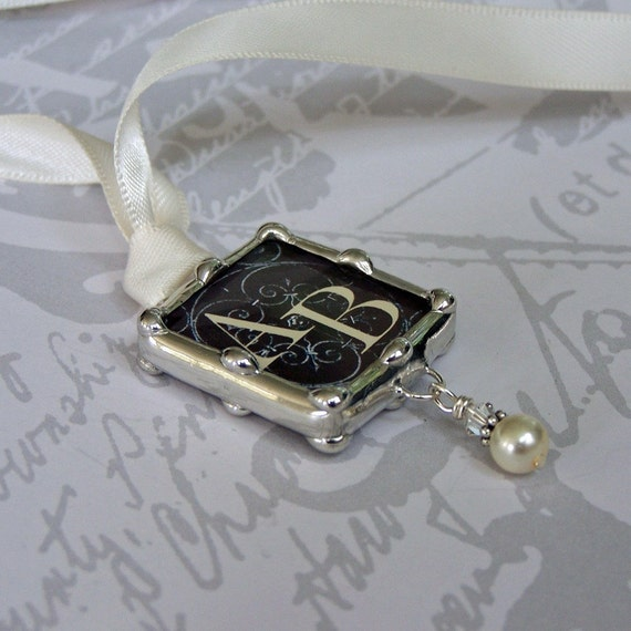 wedding bouquet charm monogram or photo charm soldered glass