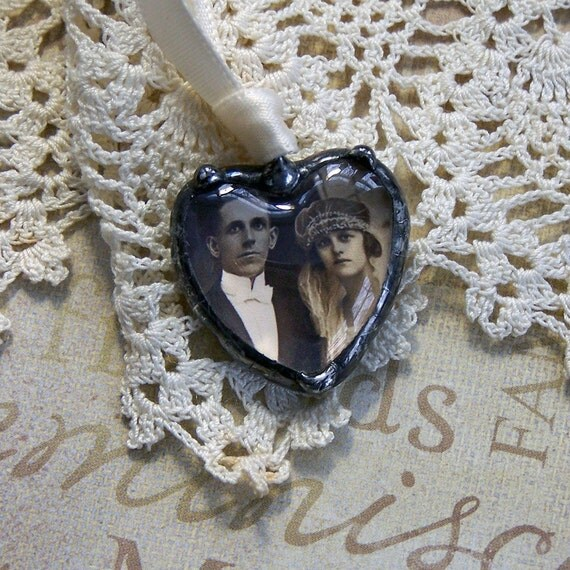 Brides Photo Charm, Picture Memorial Charm, Soldered Glass Heart, Wedding Bouquet Charm, Bridal Keepsake, Something Blue, Something Old