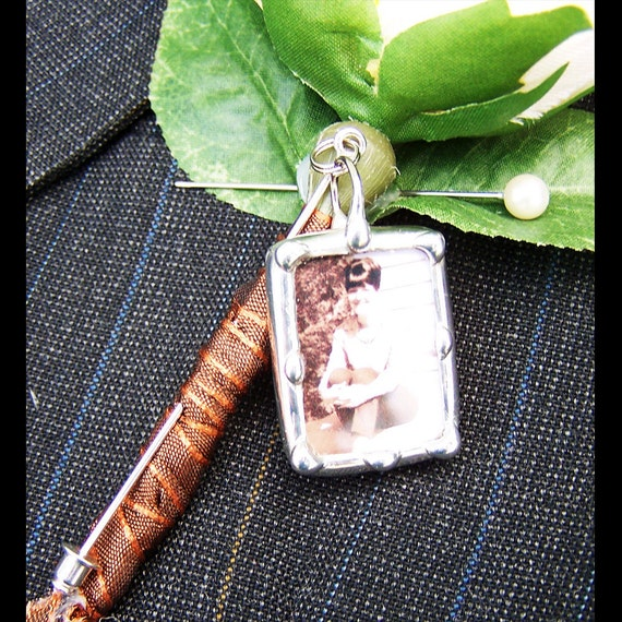Lapel Pin Charm, Groom Boutonniere Charm, Memorial Photo Stick Pin, Wedding Keepsake, Bridal Bouquet Pin