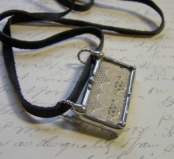 Leather and Vintage Lace Soldered Glass Pendant Necklace