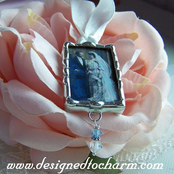 Wedding Bouquet Charm, Memorial Keepsake, Bridal Bouquet Picture Charm, Soldered Glass, Artisan Made, Personalized Pendant