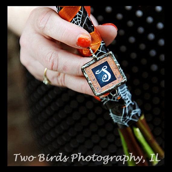 Halloween Wedding Bouquet Charm, Soldered Glass, Gothic Wedding, Bridal bouquet Charm, Personalized Initial Pendant, Bridesmaid Jewelry