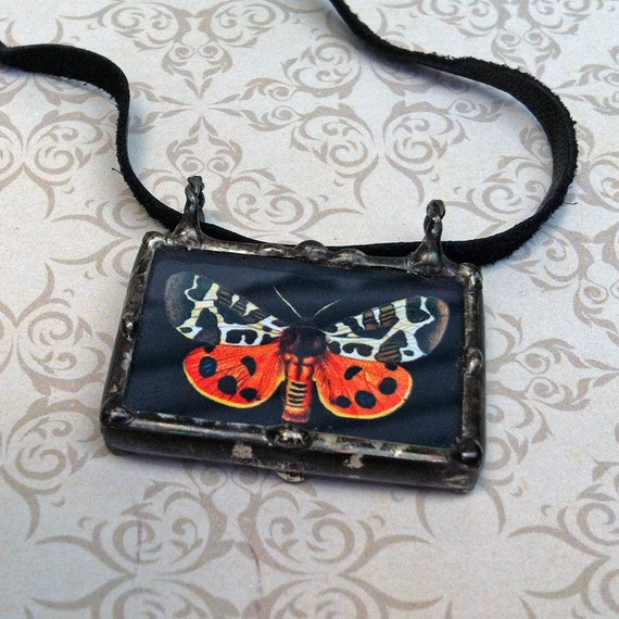 Soldered Glass Butterfly Charm Moth Pendant