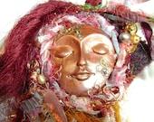 Textile Art Pendant/Brooch Clockwork Dreamer