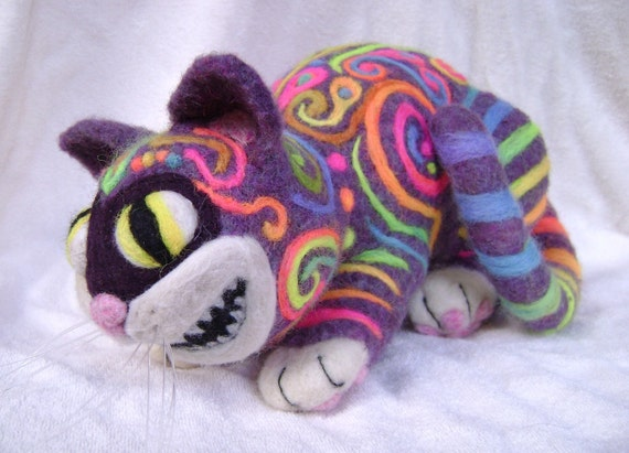 OOAK Psychedelic Cheshire Cat  1st place winner Living Felt Contest 2010