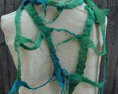 Handmade lattice felt scarf Forest Pool Blue Green