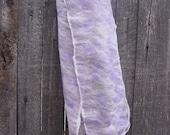 Dawn and Dusk scarf purple white green nuno felt SALE