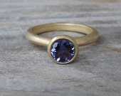 Matte 14k Yellow Gold and Navy Blue Iolite Solitaire OR Stacking Ring, Made To Order