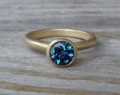 London Blue Topaz and14k Matte Gold Ring, Solitaire or Stacking ring, Made To Order Gemstone Ring
