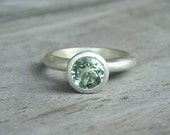 Green Amethyst and Sterling Stacker OR Solitaire Ring