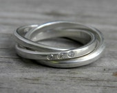 Argentium Sterling Silver and Conflict Free Diamond Rolling Ring, Made to Order