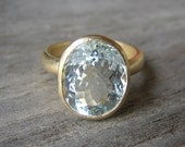 14k Yellow Gold  Rock Fetish Ring With Aquamarine,  Made in your Size