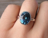 London Blue Topaz Sterling Silver Oval Rock Fetish Ring, Made in Your Size