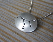 Virgo Constellation Necklace, With Sterling and Diamond