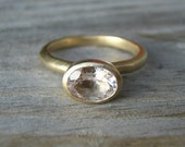 Recycled 14k Yellow Gold and Petal Pink Oval  Morganite Ring, Made To Order