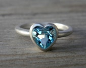 HEART On Your Sleeve Ring in Sky Blue Topaz & Sterling, SIZE 7 Ready to Ship