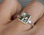 Prasiolite and 14k PD White Gold Solitaire, Made To Order