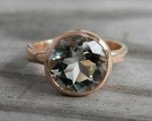 Rose Gold Ring, Green Amethyst Ring, Prasiolite Ring, Rose Gold Engagement Ring Solitaire, February Birthstone Jewelry, Statement Ring Gold
