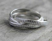 Diamond Cut Sterling Silver Interlocked Rolling Ring, Made to Order