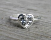 White Topaz Ring, Heart Ring, Silver Ring, Solitaire in Recycled Silver, Diamond Alternative, Clear Stone