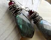 Labradorite Dagger Earrings in Sterling and Rhodolite Garnet