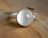 White Moonstone Ring, Bezel Moonstone Ring in Silver, Low Profile Gemstone Ring, Handcrafted Moonstone Jewelry