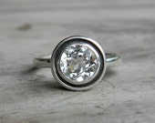 White Topaz Halo Ring in Tarnish Resistant Sterling, Made To Order