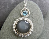 READY TO Ship Quarry Gray Moonstone Necklace and Swiss Blue Topaz Necklace with Recycled Sterling Silver