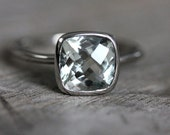 Green Amethyst Cushion Solitaire in 14k Palladium White Gold Ring, Made to Order