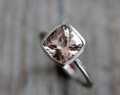 Cushion Morganite Ring, Morganite Gemstone Ring, Alternative Engagement Ring, Pink Morganite Bezel Ring, Eco White Gold Palladium Ring