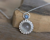 Moonstone and Blue Spinel Necklace with Recycled Sterling Silver