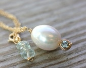 Aquamarine Necklace and Natural  Pearl Necklace in 14k Yellow Gold, Drop Necklace