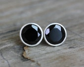 Black Garnet Sterling Post Earrings, Black Stone Studs, Genuine Garnet Jewelry, January Birthstone