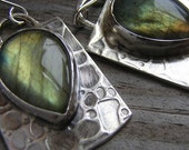 Labradorite and Sterling Silver Pear Dangle Earrings, Rivers Path