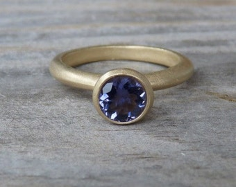 Matte 14k Yellow Gold and Navy Blue Iolite Solitaire Ring or Nesting Stacking Ring