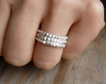 Jagged Edgy Band Ring, Sterling Silver Band, Diamond Cut Silver Ring