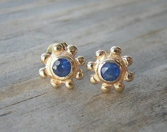 Sapphire and 14k Yellow Gold Stud Earrings