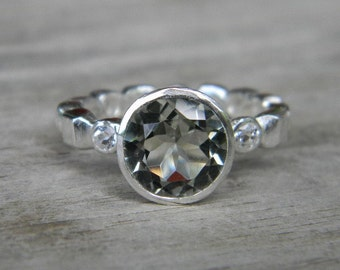 Green Amethyst and White Topaz Eternity Ring in Argentium Silver, Made in your size